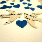 Book Page Bird Confetti & Blue Mini Heart Confetti