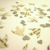 Book Page Bird Confetti & Silver Mini Heart Confetti