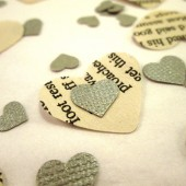 Book Page Heart Confetti & Silver Mini Paper Hearts for Vintage Wedding