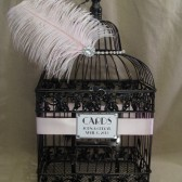 Glitzy Wedding Card Box With Rhinestones And Brooch / Bird Cage Wedding Card Holder / Black and Pink / Feathers / Vintage Style / Art Deco