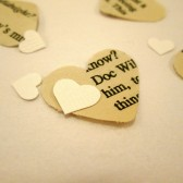 Book Page Heart Confetti & White Mini Paper Hearts for Vintage Wedding