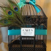 Black Wedding Card Box Peacock Birdcage Wedding Card Holder/ rhinestone Brooch / Emerald Green