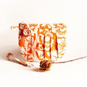 Bridesmaid Gift Idea, pleated wedding bridal bridesmaid clutch, wristlet, purse, bag cosmetic clutch Ivory Orange Rosebud by Lolos