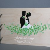 Wedding wooden guest book Hand painted Bridal shower engagement anniversary Book Groom and Bride Loving green