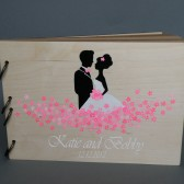 Wedding wooden guest book Hand painted Bridal shower engagement anniversary Book Groom and Bride with Fuchsia pink flowers