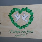 Wedding wooden guest book Hand painted Bridal shower engagement anniversary Book Love Doves inside of the leaf heart