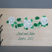 Wedding wooden guest book Hand painted Bridal shower engagement anniversary Book White roses