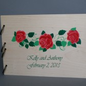 Wedding wooden guest book Hand painted Bridal shower engagement anniversary Book Red roses