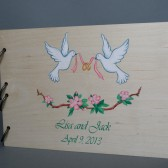 Wedding wooden guest book Hand painted Bridal shower engagement anniversary Book Doves and blossoming apple tree
