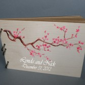 Wedding wooden guest book Hand painted Bridal shower engagement anniversary Book Sakura tree