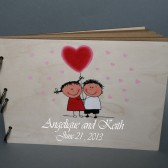 Wedding wooden guest book Hand painted Bridal shower engagement anniversary Book This Love is Forever ( Boy and Girl with red heart baloons)