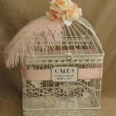 On Sale Wedding Card Box / Ostrich Feather / White / Bird Cage Card Holder with Roses / Shabby Chic