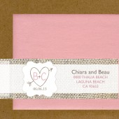 Printable Burlap Pink Champagne Blush Love Hearts Invitation Envelope Label