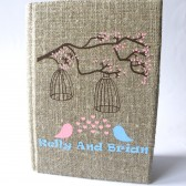Wedding rustic guest book burlap Linen Wedding guest book Bridal shower engagement anniversary Blue and pink birds and birdcage