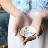 Hand painted Wedding Ring Pillow Alternative , Wedding Ring Dish Blue birds on branch