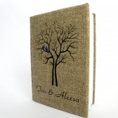 Wedding rustic guest book burlap Linen Wedding guest book Bridal shower engagement anniversary Purple Cardinals on the Tree