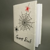 Wedding rustic guest book burlap Linen Wedding guest book Personalized Red and Black Spider