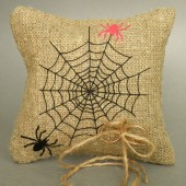 Wedding rustic natural linen Ring Bearer Pillow black and red spiders