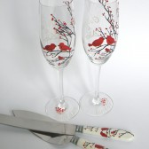 4 pc SET of Hand painted Wedding Toasting Flutes Champagne glasses and cake knives Red birds and baby bird on branch