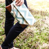 Sydney Clutch in Robin's Egg Chevron