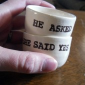 He asked and She said yes handprinted ring dishes