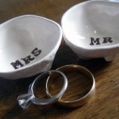 MR and MRS handmade ring pillows
