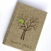 Wedding rustic guest book burlap Linen Wedding guest book Bridal shower engagement anniversary Green Cardinals on the Tree
