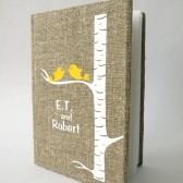 Wedding rustic guest book burlap Linen Wedding guest book Personalized Yellow Birds on white birch tree