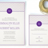 Plum Monogram Invitation