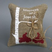 Wedding rustic natural linen Ring Bearer Pillow ATV Quadro Racing under white birch tree