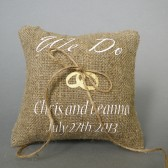 Wedding rustic natural linen Ring Bearer Pillow WE DO and gold rings