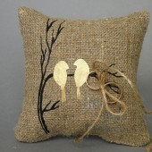 Wedding rustic natural linen Ring Bearer Pillow Gold Birds on brunch and linen rope