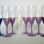 Bridal shower party champagne glasses Hand painted lavender, navy blue, dark purple bridesmaid and bride's dresses