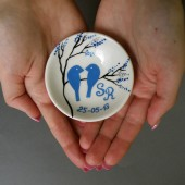 Hand painted Wedding Ring Pillow Alternative , Wedding Ring Dish Royal Blue birds on branch