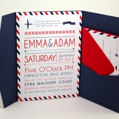 Travel, Airmail theme Wedding Invite