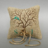 Wedding rustic natural linen Ring Bearer Pillow Green Birds on Brown tree and linen rope