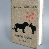 Wedding rustic guest book burlap Linen Wedding guest book Bridal shower engagement anniversary Tiger and Goat silhouettes