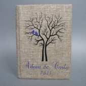 Wedding rustic guest book burlap Linen Wedding guest book Bridal shower engagement anniversary Purple birds and names and black tree