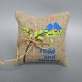 Wedding rustic natural Burlap linen Ring Bearer Pillow Royal Blue Birds and green leaves on Brown tree and linen rope
