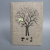 Wedding rustic guest book burlap Linen Wedding guest book Bridal shower engagement anniversary Mint green birds on black tree and initials