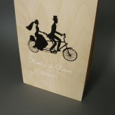 SALE Wedding guest book Hand painted Bridal shower engagement anniversary Book Vintage Bicycle silhouette