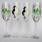 Hand painted Wedding Toasting Flutes Set of 4 Personalized Champagne glasses Black trees and Lime green birds, Black & White cats