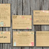 Rustic, Kraft Paper Wedding Invitation Set