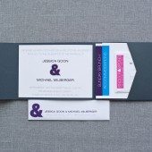 Modern Ampersand Pocket Wedding Invitation - Gray - Bright Custom Colors - Jessica and Michael