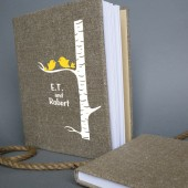 Wedding rustic old style photo album or scrapbook burlap Linen Bridal shower anniversary Gold Birds on white birch tree