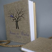 Wedding rustic old style photo album or scrapbook burlap Linen Bridal shower anniversary Purple birds and names and black tree