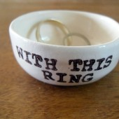 with this ring, handmade ceramic ring pillow