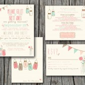 Vintage Wedding Invitation Set - Rustic, Pretty