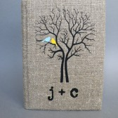 Wedding rustic guest book burlap Linen Wedding guest book Bridal shower engagement anniversary Light blue and Yellow Cardinals on the Tree