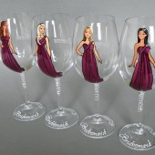 SALE Bridal Party Wine or champagne Glasses Bridesmaids Gift - Personalized Caricatures Handpainted to their Likeness
